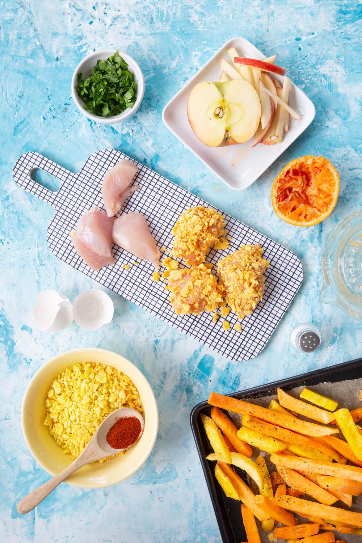 Helpot kananugetit ja kasvisranskalaiset