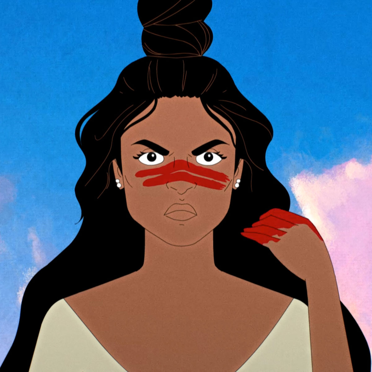 Animated character wiping blood across her upper cheek and nose