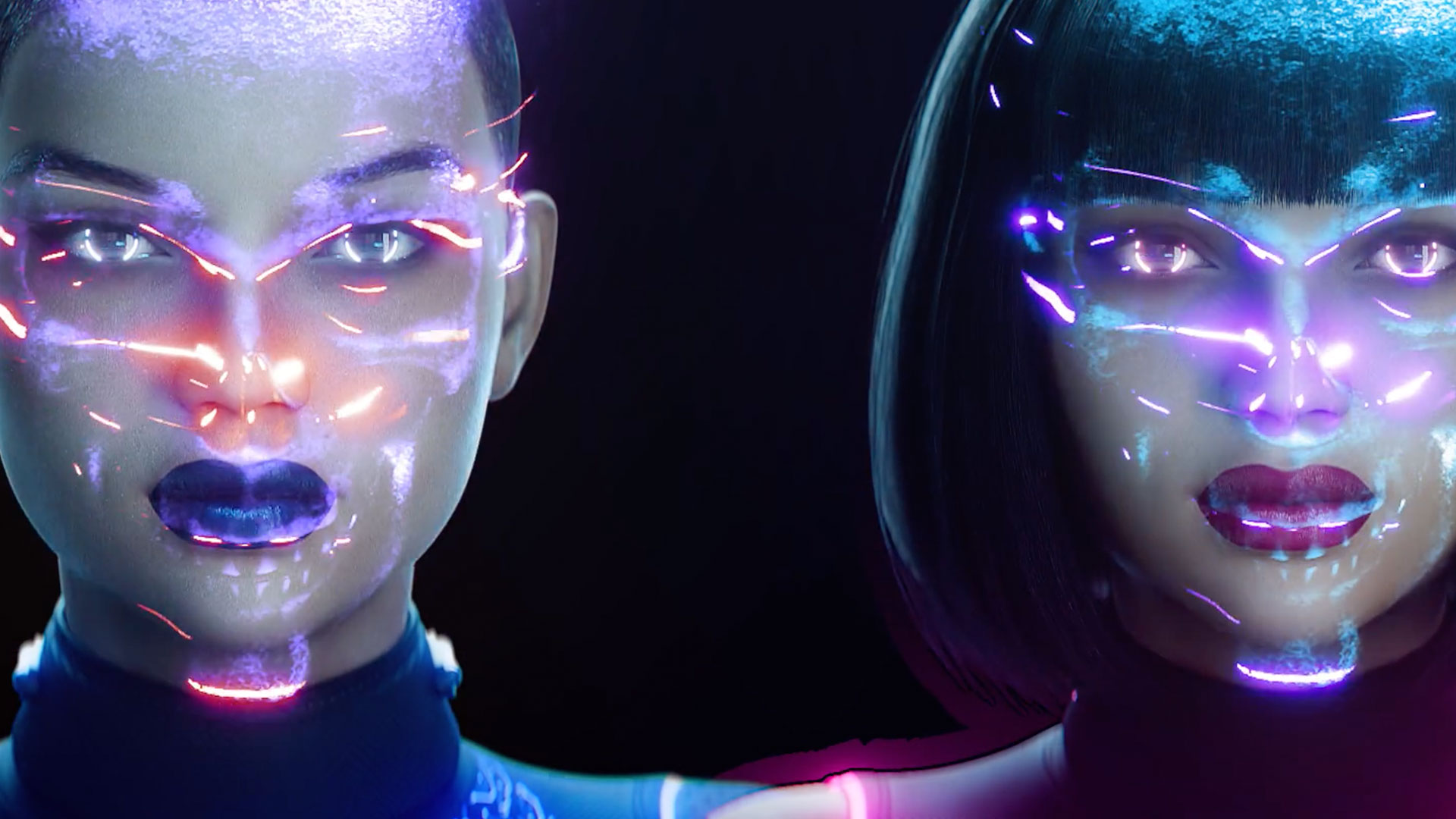 Animation of two women with lightning grazing their faces.