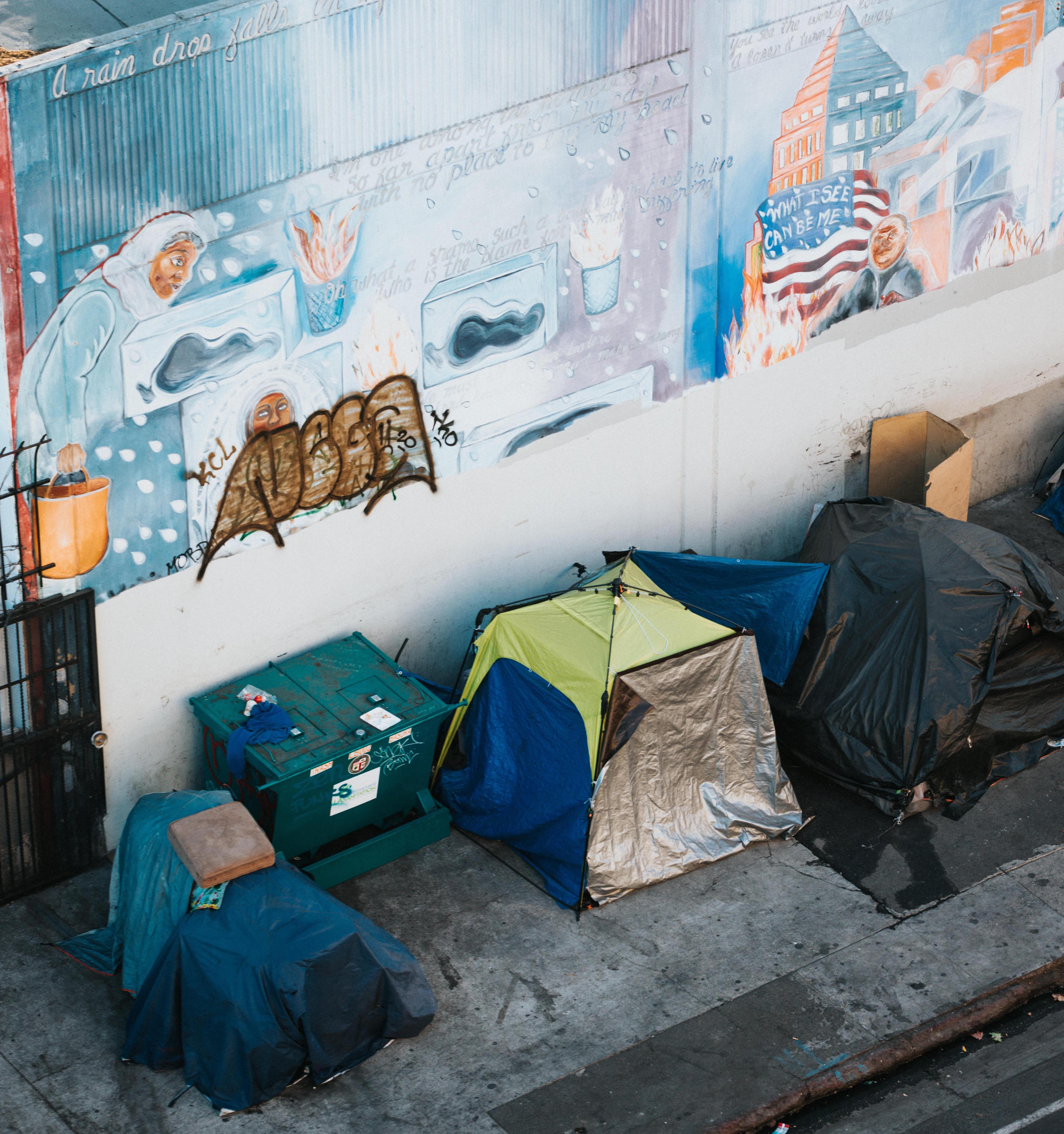 Homeless people living in tents