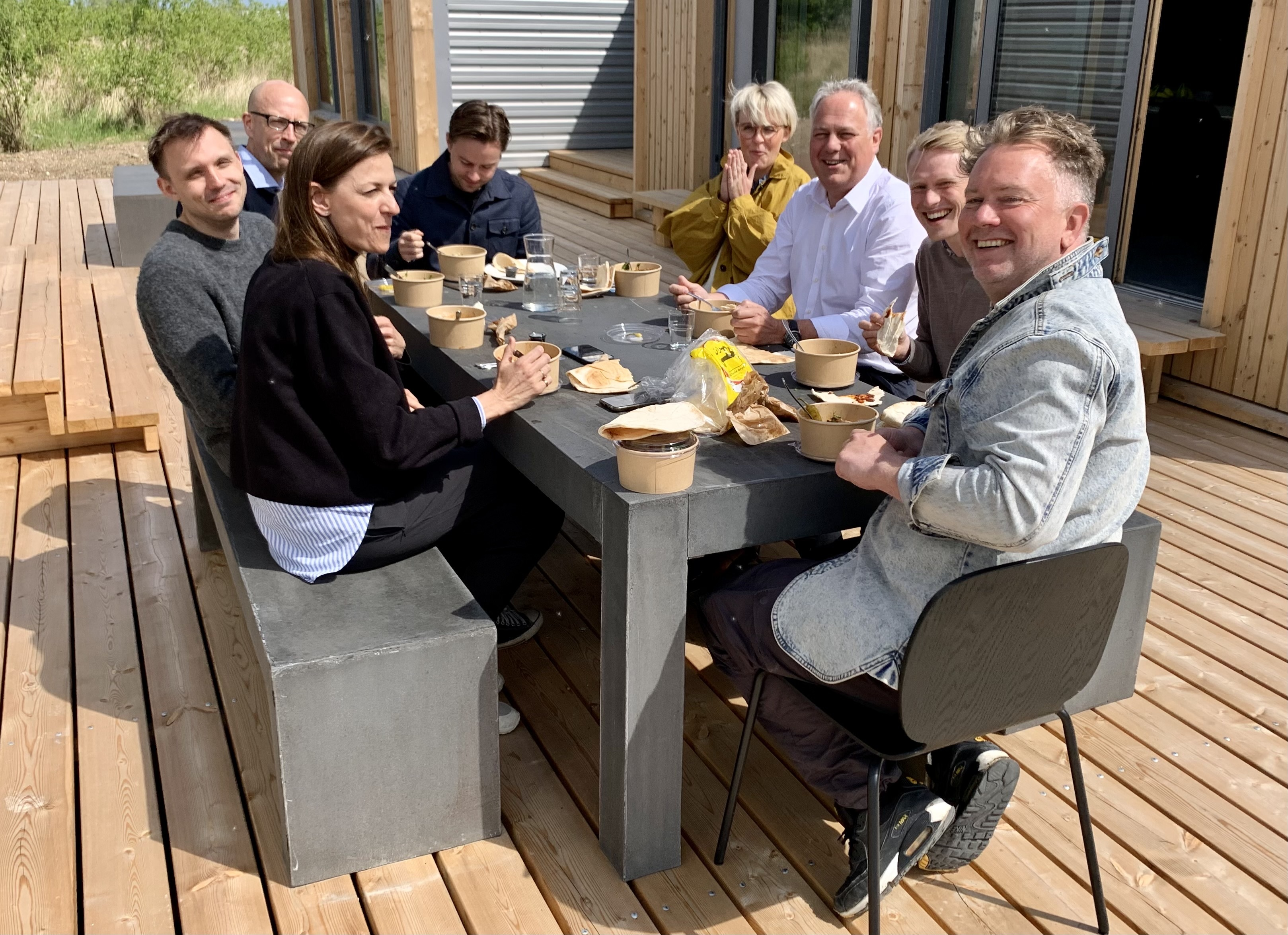 The Home.Earth team enjoying a lunch on our terrace