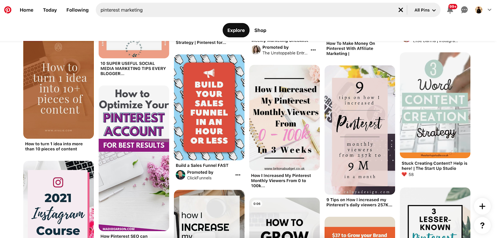 pins in a pinterest search for pinterest marketing