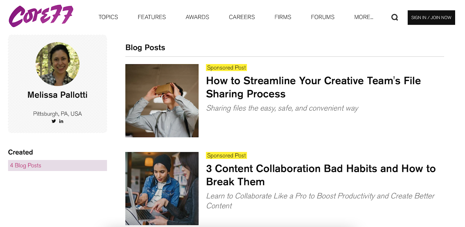 sponsored content and guest posts on core77