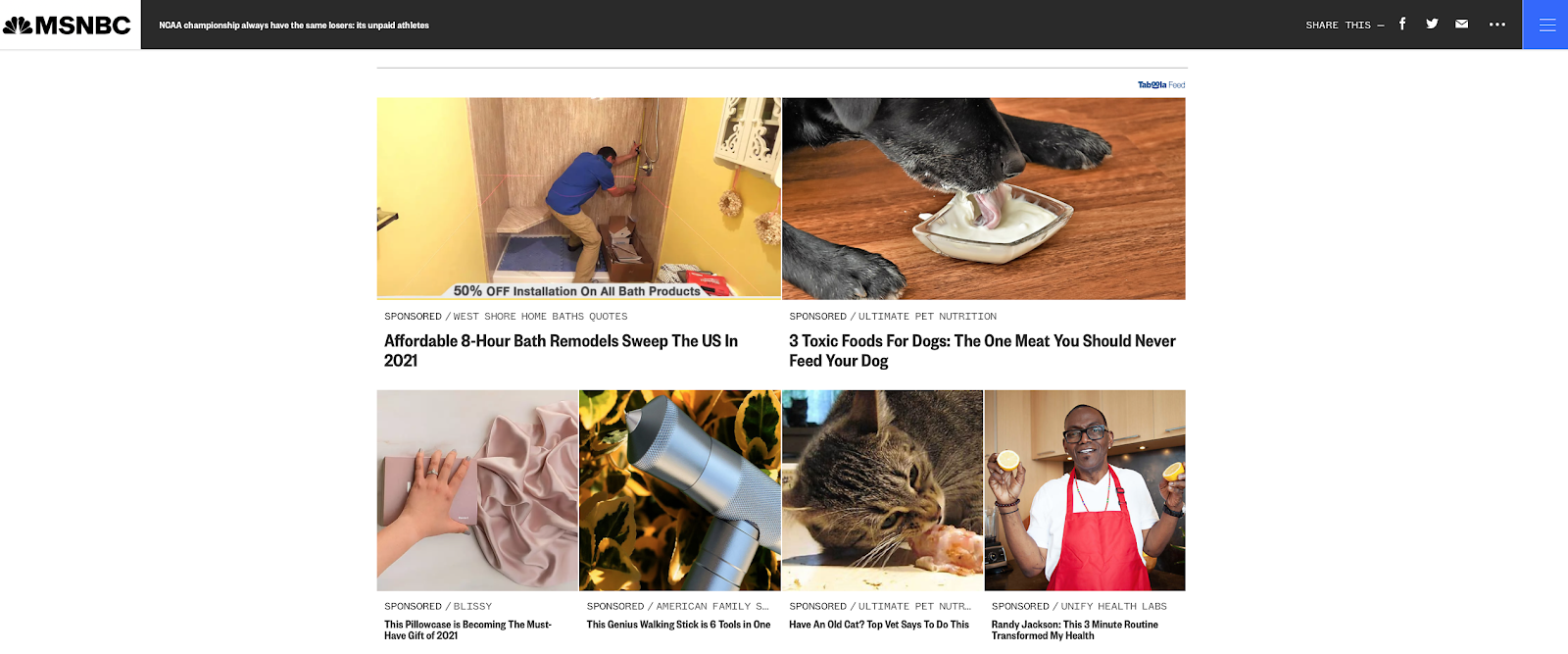 syndicated blog content by taboola on MSNBC