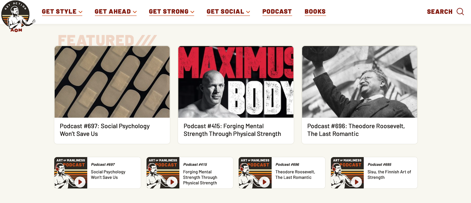 Art of Manliness podcast page