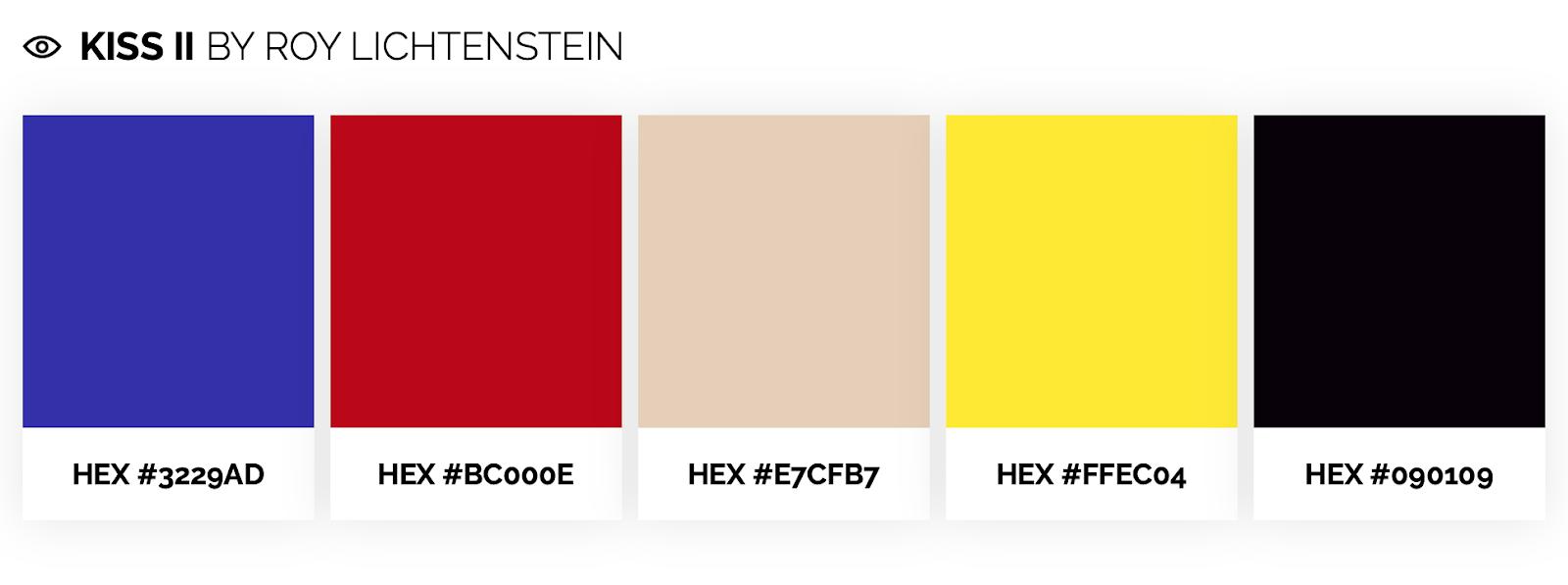 pop art color palette inspired by roy lichtenstein