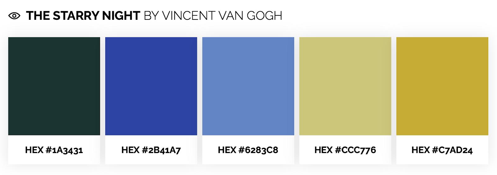 cool color palette inspired by Vincent Van Gogh