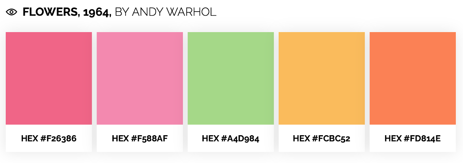 Bright color palette inspired by andy warhol