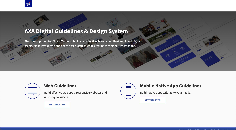 AXA Digital Guidelines Design System webpage