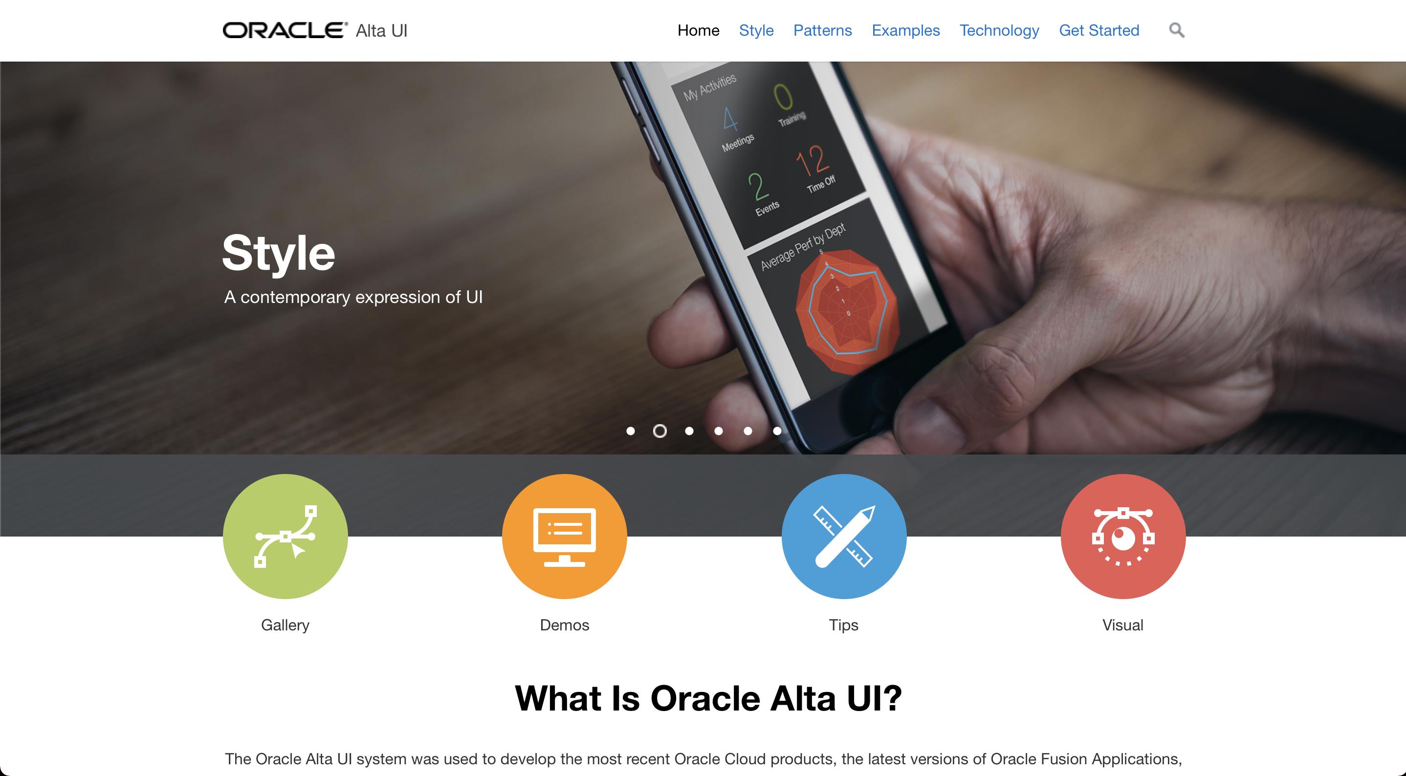 Oracle Alta Design System website