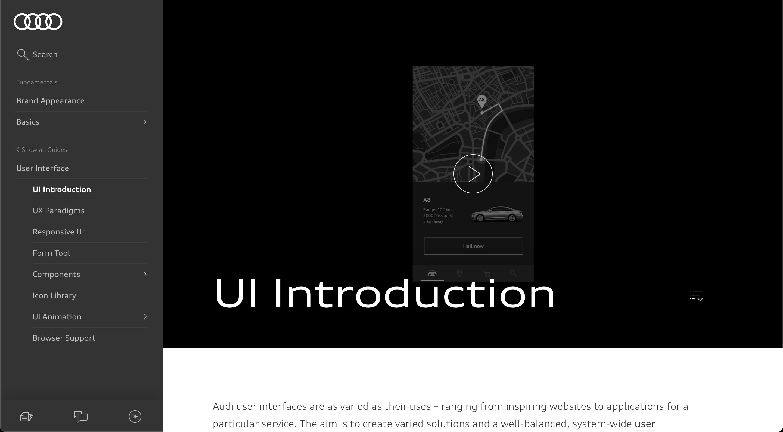Audi UI Design System website