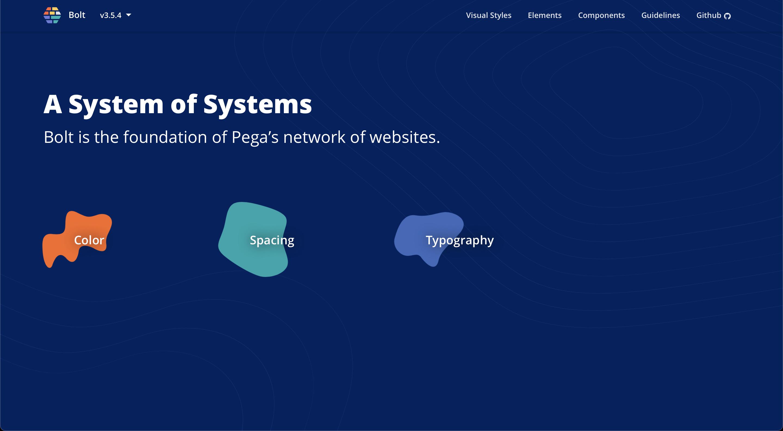 Pega Digital Bolt Design System guidelines website