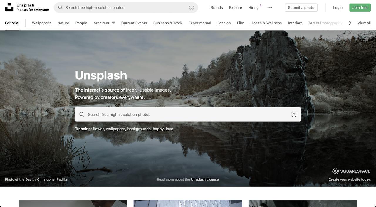 Unsplash free photo stock website