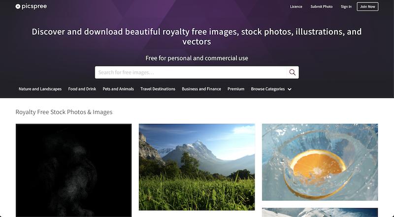 Picspree photo stock website