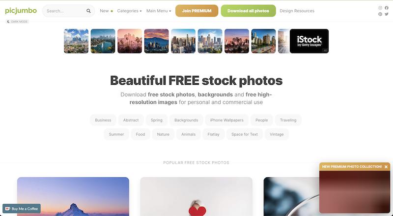 Picjumbo photo stock website