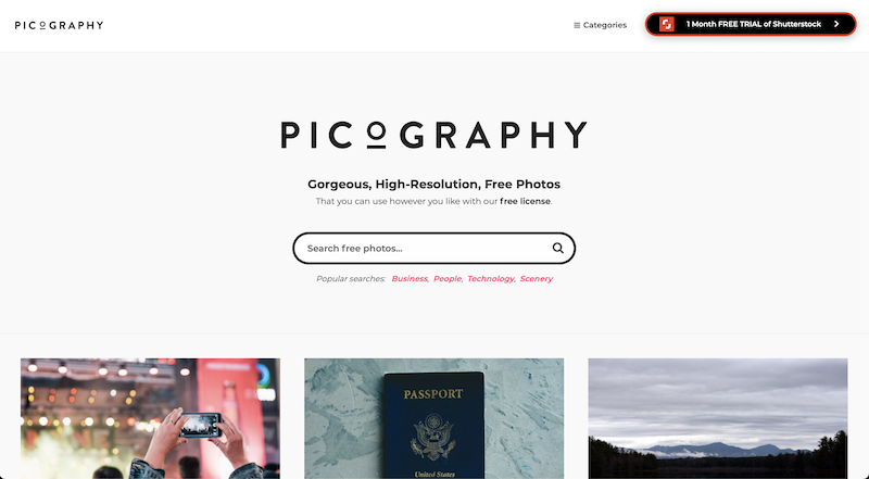 picography photo stock website