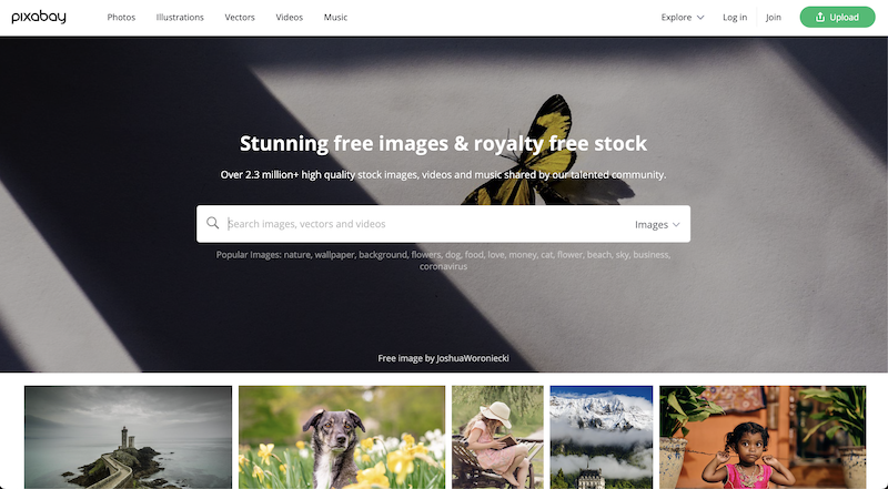 Pixabay photo stock website