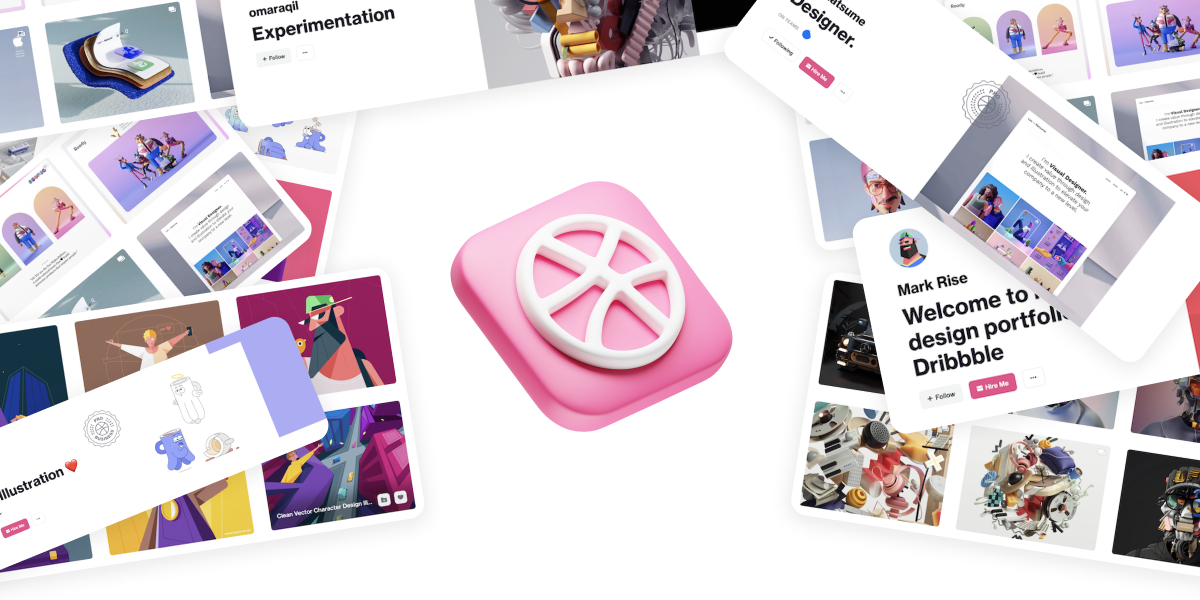 dribbble.com icon with illustrations from great illustrators