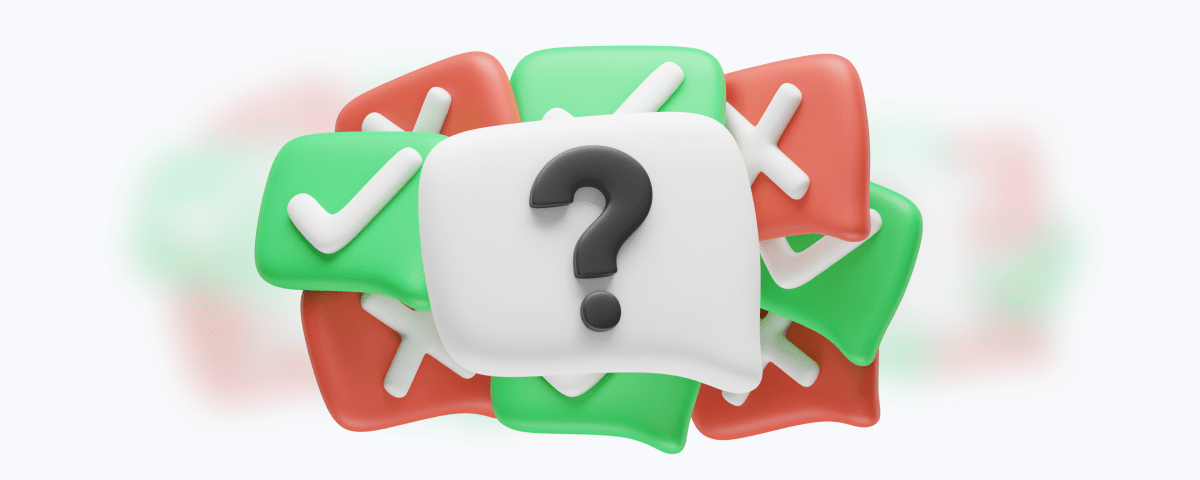 Message bubbles with question mark check and cross