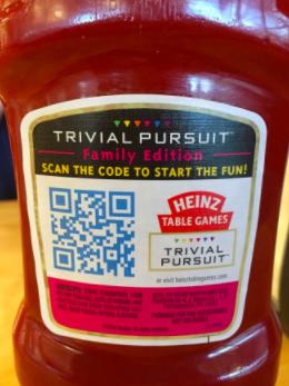 A qr code on Heinz ketchup bottle