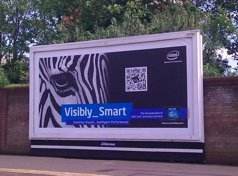 zebra qr code on an intel advertisement billboard