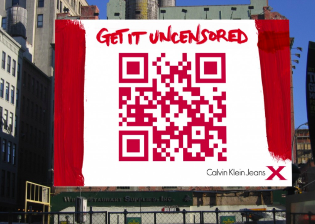 huge qr code on a Calvin Klein Jeans billboard