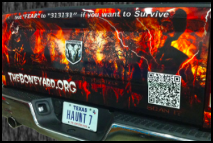 a qr code at the back of a car