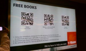 display with qr codes linked to free e-books in airport