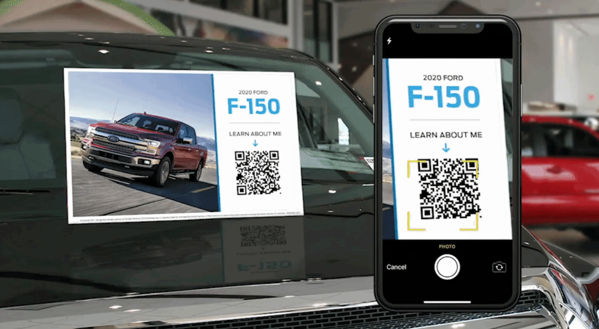 qr code on a label of an F-150 truck