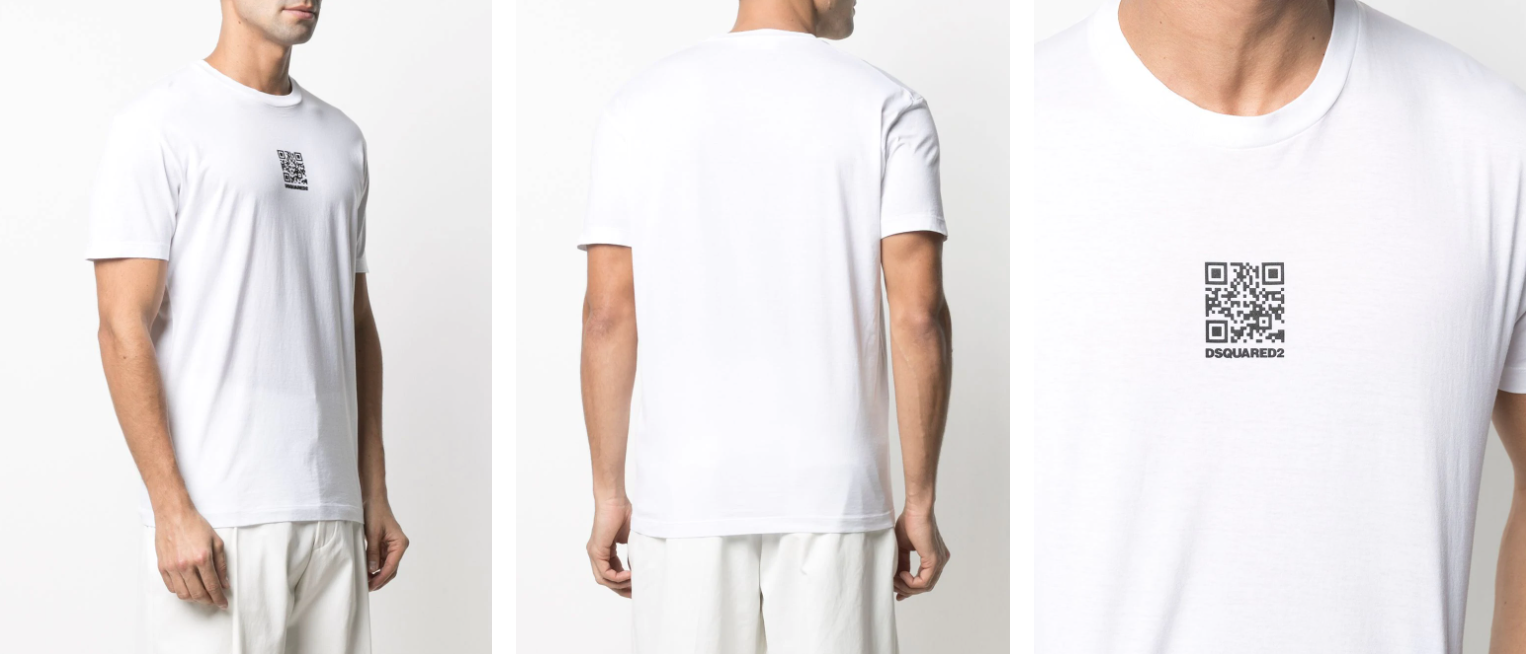 Small black QR code on a Dsquared2 white t-shirt
