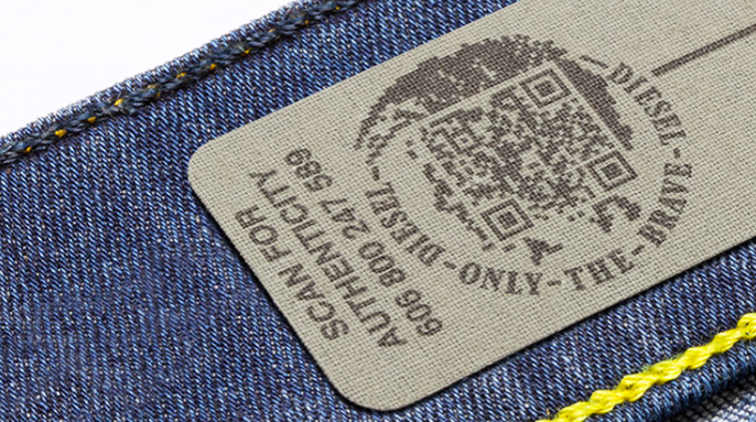 Authenticity QR code material tag on jeans