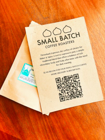 a qr code on a coffee roasters leaflet