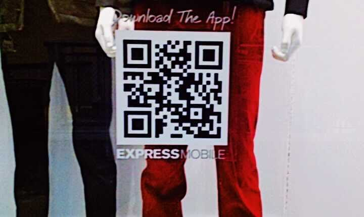 a large qr code window sticker for express mobile to download the app