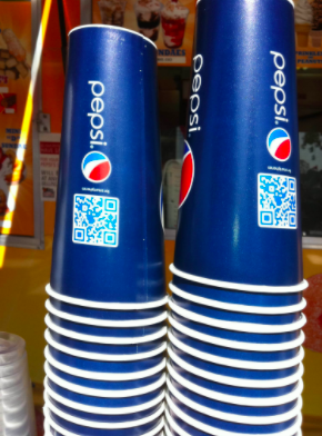 pepsi cups with qr codes