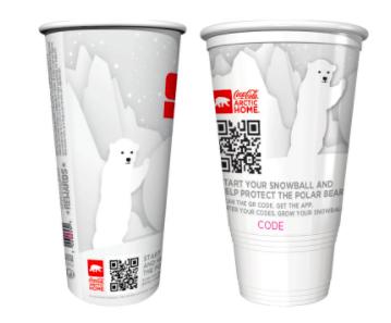qr codes on seasonal christmas coca cola cups with white bears