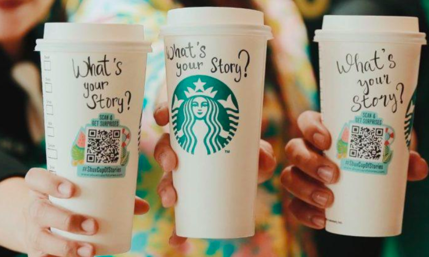 starbucks takeaway cups with qr codes