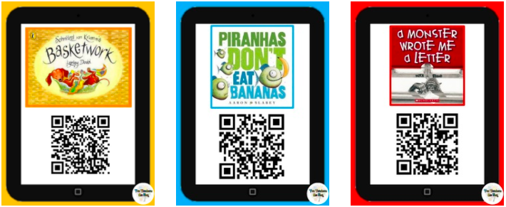 three ipads with qr codes for three books for children