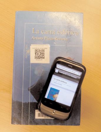 qr code online book download sticker on a leaflet