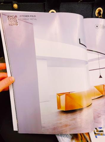 kitchen fold qr code advertisement in an interior design magazine
