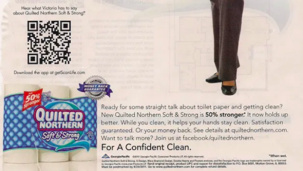 a qr code on a toilet paper advertisement in a magazine