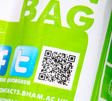sblack and white qr code on a reusable bag