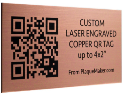 qr code engraved on copper card