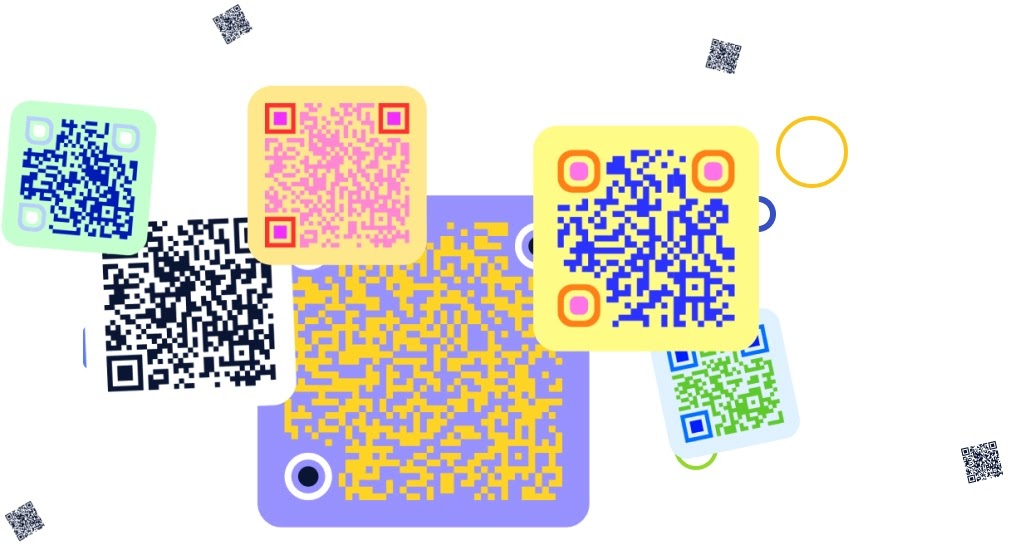 Customised brightly coloured QR code with different shape designs