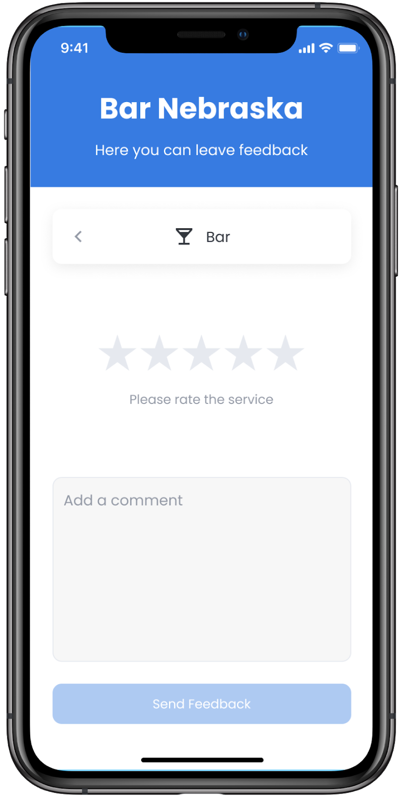 Mobile online feedback form for a bar with star rating and section for comments