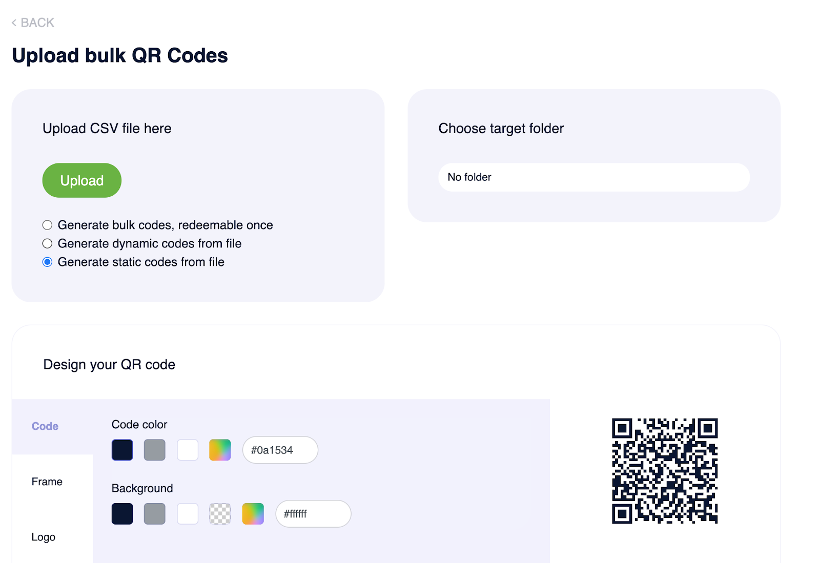upload CSV file on Supercode's QR code bulk generator