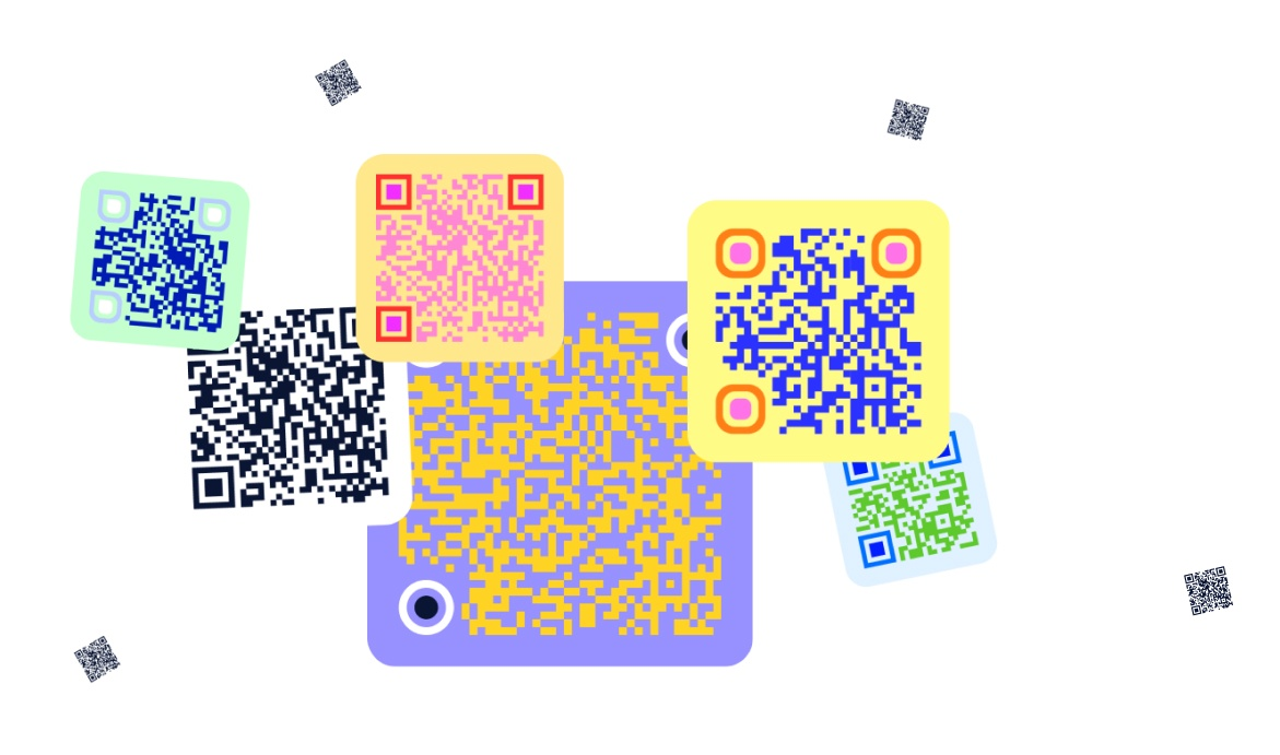 bright colourful QR codes generated on Supercode platform