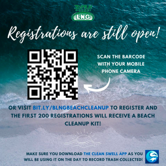 Poster with qr code to register for beach cleanup