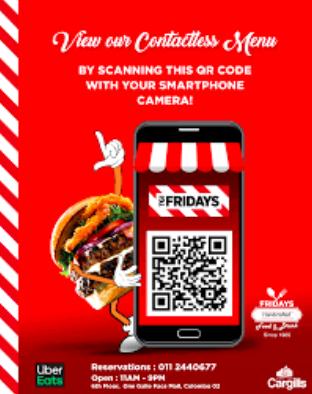 QR code TGI Friday's app advertisement leaflet