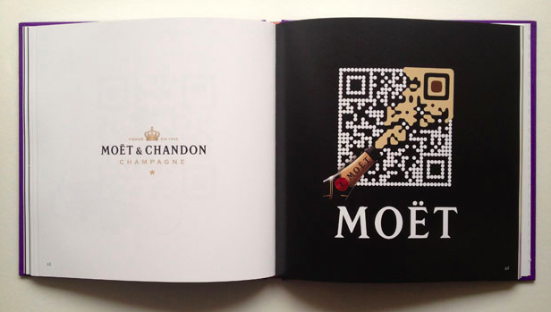 a creative QR code for moet champagne on a book's page