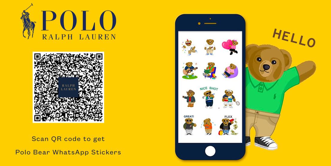 QR code ralph lauren polo bear whats app stickers
